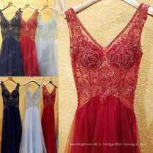 Luxe brillant en perles sexy en V Voir Robes de soirée Robes de soirée Robe Longue Femme Soiree Robe de soirée formidable ML189
