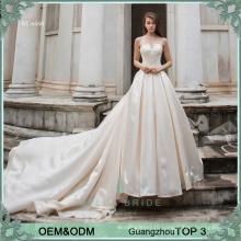 Simple wedding dress bridal gown long train bride dress beaded satin wedding dress