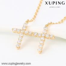 43189 -Xuping último diseño doble cruz colgante, collar de aleación de oro