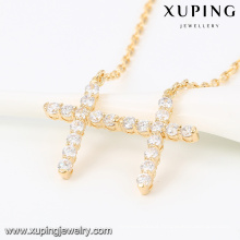 43189 -Xuping Latest design double cross pendant necklace alloy gold
