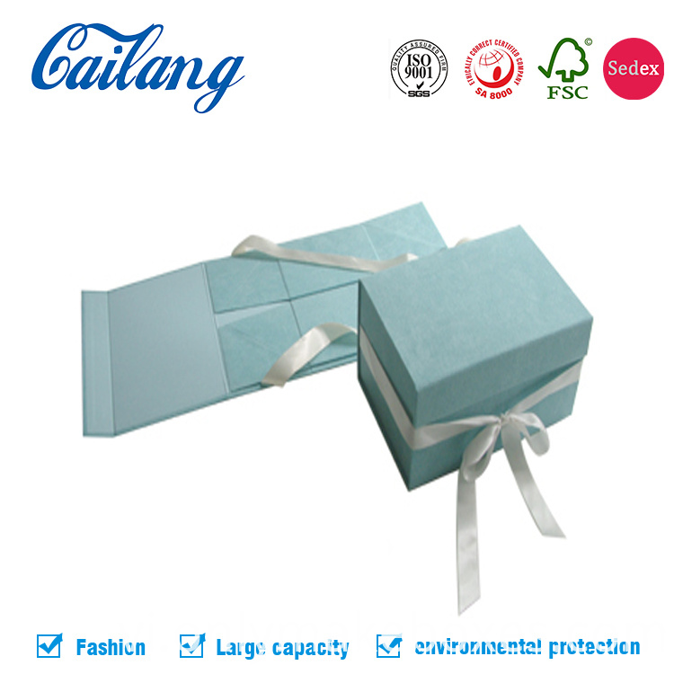luxury blue collapsible paper cardboard box for apparel and cosmetics gift packagi