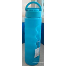 Glass Water Bottle with Silicone Sleeve PP Lid/385g 520ml