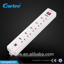 6-way High Quality Usb Wall Socket Мощность с предохранителем GT-6124A