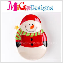 China Big Supplier Christmas Gift Snowman Design Ceramci Plate