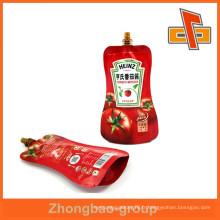 Bec d'emballage liquide étanche à l'eau, sac à bec en plastique pour l'emballage de la confiture de tomate
