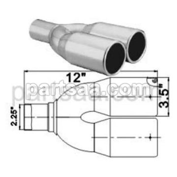 Stainless Exhaust Twin Tip Y Shape