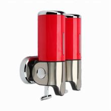 Dispensador de jabón líquido montado en la pared de plástico de 500ml * 2 acero inoxidable + ABS