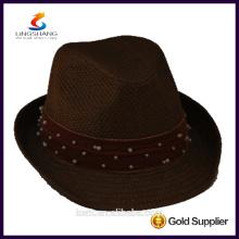 DSC 0009 LINGSHANG caliente al por mayor de moda vestido de alta calidad de papel sombrero de paja panamá