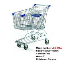 145Lメタルクロムショッピングカートトロリー、4輪