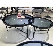 European nordic metal round glass Coffee table