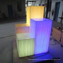 LED Light Pass Decoration Pillar And Fashion Store Decoración Láminas de resina translúcida