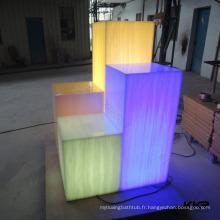 Pilier de décoration de passage de lumière de LED et feuilles translucides de résine de décoration de magasin de mode