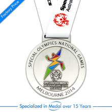 China Custom Copper Stamping Silver Plating Running Medal for Special Olympic Games