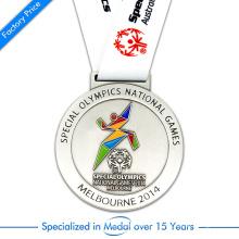 China Custom Copper Stamping Silver Plating medalha de execução para Jogos Olímpicos Especiais