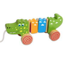 Hot Sale Cute Pull Crocodile Toddler Wooden Toys for Babies and Kids