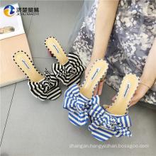 Very popular beach bow slippers women high heel shoes