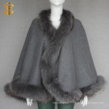 Women Winter Outwear Véritable Raccoon Fur Trim Cape de laine rouge