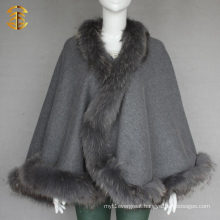 Women Winter Outwear Genuine Raccoon Fur Trim Red Wool Cape