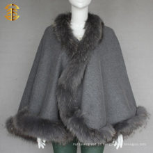 Mulheres Inverno Outwear Genuine Raccoon Fur Trim Red Wool Cape