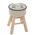 white linen wood stools