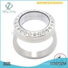 Crystal locket flutuante personalizado feito anéis de aço inoxidável, anéis de prata, jóias anéis