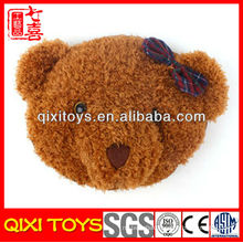 new type cute and soft bear head plush hand warm pillow