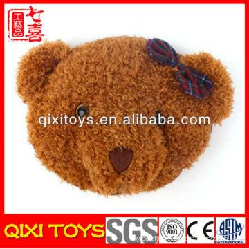 new type cute and soft bear head plush hand warm pillow