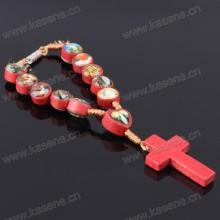 Pulsera hecha a mano del rosario del cordón con muchos cuadros del santo