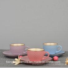 Европейский Стиль Цвет Глазурованные чашки и Поддонника чая
