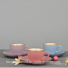 European Style Color Glazed Cup and Saucer Tea Set