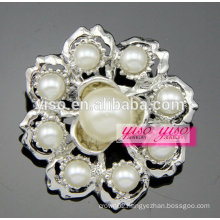 bling jewelry rhodium plated white shell pearl brooch
