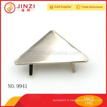 Plaque de nom de conception de triangle de style simple en nickel pour les accessoires de bourses