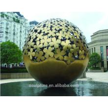Grande, modernos, artes, abstratos, inoxidável, aço, esfera, escultura, jardim, decoração