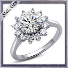 Fashionable Beautiful Flower Shape Shining Diamond Jewelry Ring