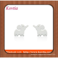 fashion stainless steel jewelry wholesale white gold plated alloy elephant stud earring