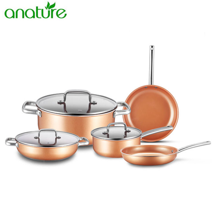 Fast Delivery 7pcs Titanium Coating Cookware Set