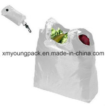 Large Capacity 190t Polyester Reusable Nylon Foldaway Shopping Tote Bag