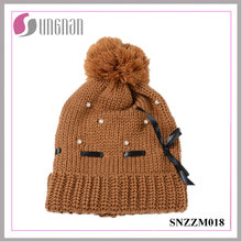 Best Design Warm Beautiful Ladies Pearl Bow Knit Hat Fur Ball Wool Cap