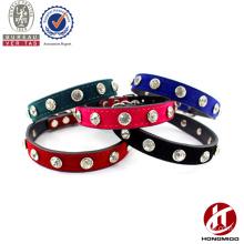 Leather pet collar with rhinestone dog collar with rhinestone