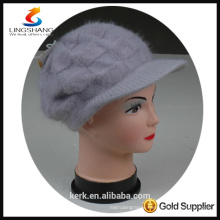 DSC9595 lingshang angora high quality winter Custom Crocheting Knitted hat lady peaked cap