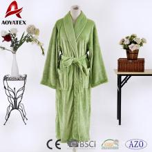 Traje de microfibra verde seco rápido bata larga de lana de franela de color sólido