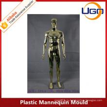 Мужской хром пластик манекен плесень полное тело с абстрактной головой