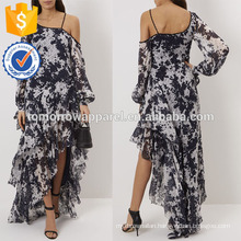 New Fashion White And Navy Tie-dye One-Shouldered Gown Dress Manufacture Wholesale Fashion Women Apparel (TA5262D)