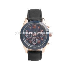 Relógio de esporte de couro preto mecânico automático de marca de luxo de homens