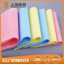 Les rouleaux non-tissés de nettoyage de tissu non-tissé de dentelle de vague ont tourné les lingettes pour des lingettes humides