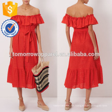 Neue Mode rot weg von der Schulter Kleid Herstellung Großhandel Mode Frauen Bekleidung (TA5295D)