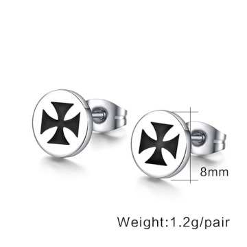 Fashion stainless steel men earring jewelry punk rock earrings for men cross earring for men cool silver color earring