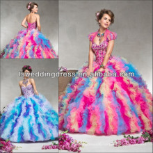 HQ2048 Unique style beaded boned top sweetheart neck sleeveless strapless layered ruffled tulle mardi gras quinceanera dress