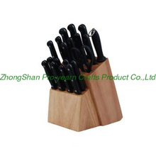Wooden knife block with 19pcs knife set