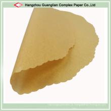 Papel de cozimento não branqueado arredonda forros de panela de bolo siliconada